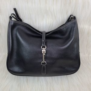 Coach Hampton Black Leather Handbag Clip Lock